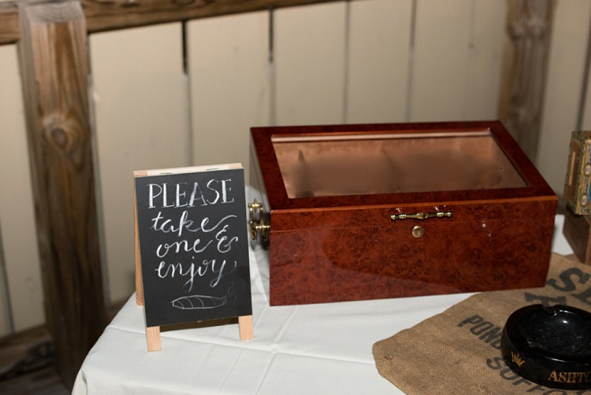 Loving this fun reception cigar bar at this fun DIY wedding!