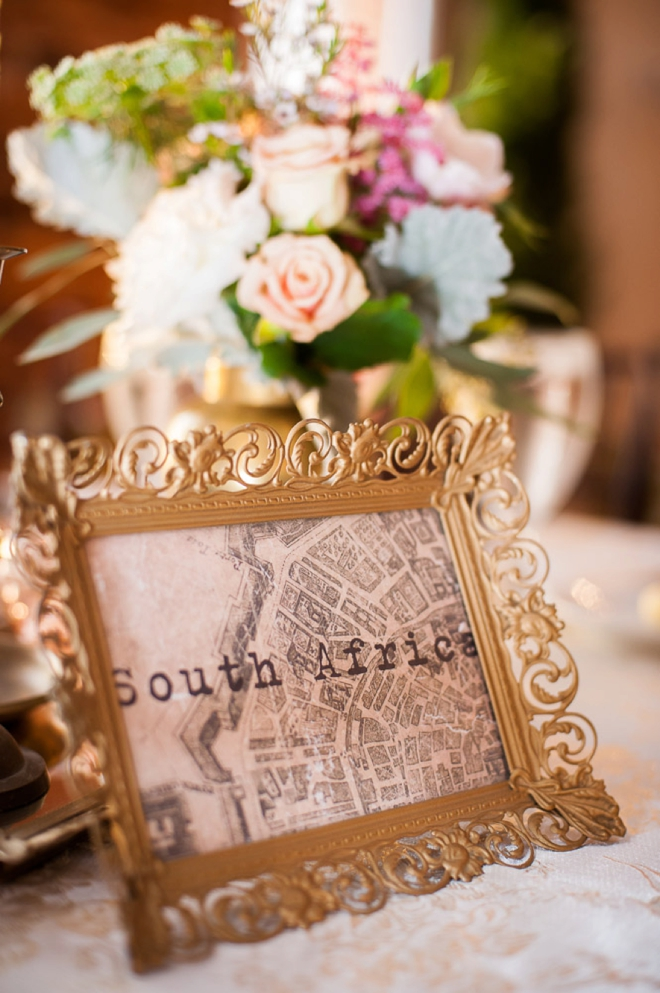 Table numbers as cities the couple has traveled to!