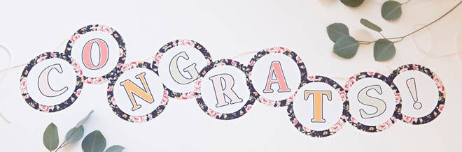 Gorgeous, FREE printable floral alphabet and Congrats banner!