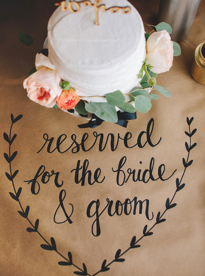 How gorgeous is this hand lettered kraft paper tablecloth?! We're swooning!