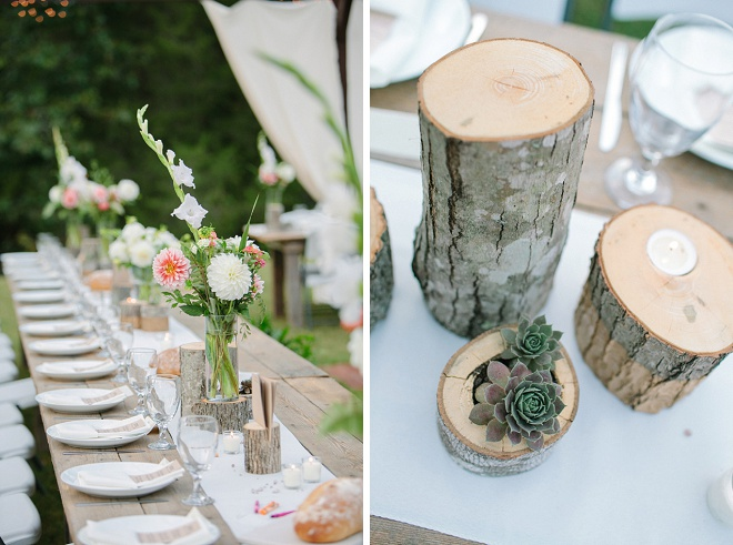 Loving these rustic and thoughtful wooden centerpieces!