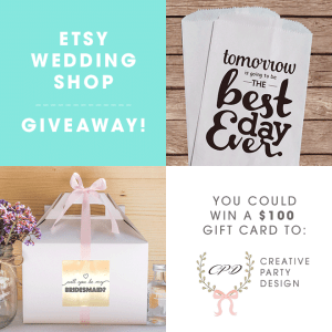 You could win a $100 gift card to Creative Party Design on Etsy!