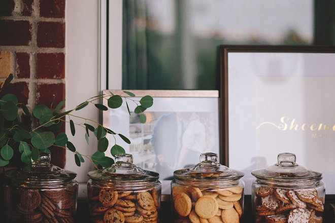 Awesome self-service style cookie dessert bar for a wedding!