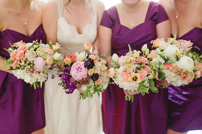 We love this fun shot of the Bride and her Bridesmaids with their bright spring bouquets!
