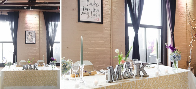 Loving the personalized inital details on this couples sweetheart table!