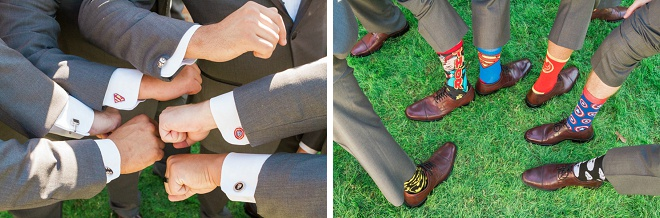 Fun Groom and Groomsmen shot with their fun wedding socks!