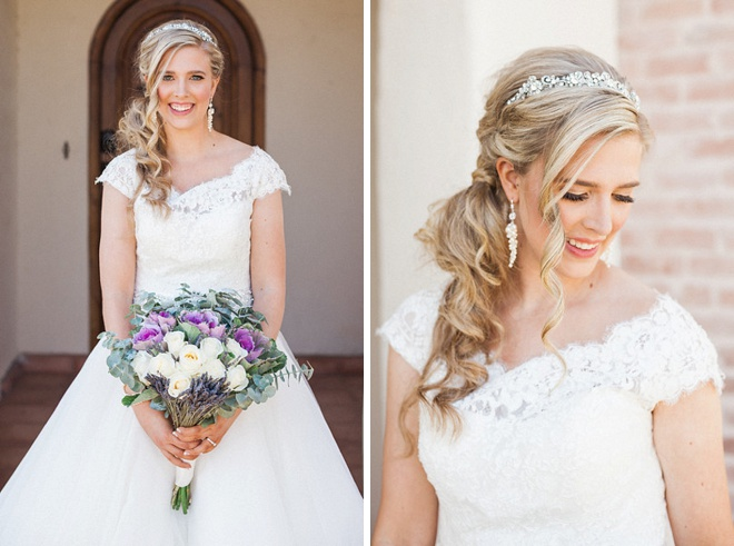 We're loving this gorgeous Bride's wedding style and bouquet!