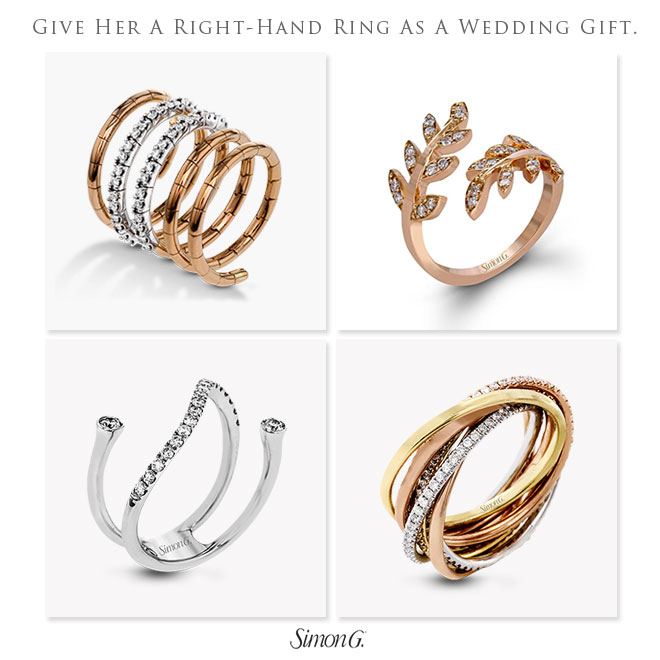 Give her the gift of fine jewelry for your wedding present, like these right hand rings from Simon G.