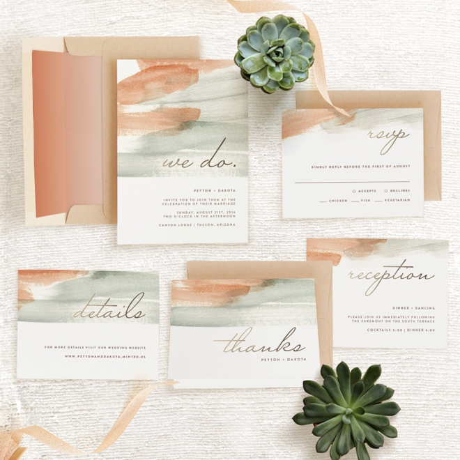 Canyon themed wedding invitation suite from Minted!