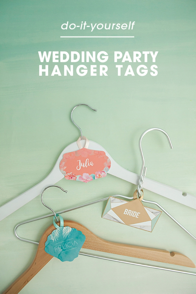 FREE printable and editable bridal party hanger tags in three themes!