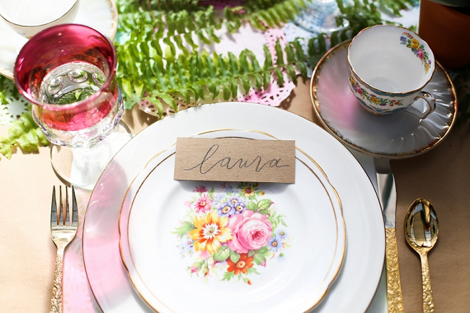 We love this GORGEOUS garden place setting at this bridal shower!