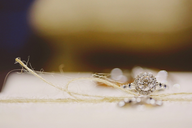 We're loving this gorgeous ring shot at this rustic DIY wedding!