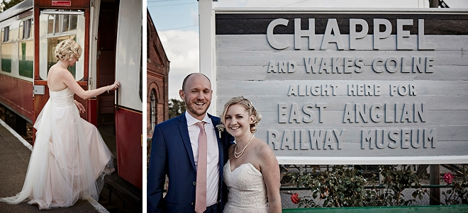 How fun is this gorgeous Bride and Groom at their train museum reception in the UK!