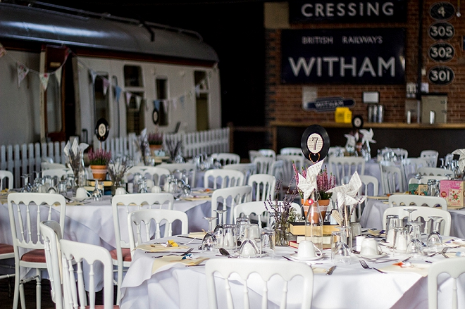 We're loving the rock and roll, vintage vibe at this museum UK wedding reception!