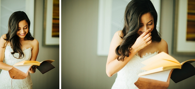 How darling is this Bride reading her Groom's notes? Swooning!