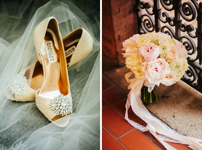 We're loving this Bride's gorgeous wedding shoes and blush bouquet!