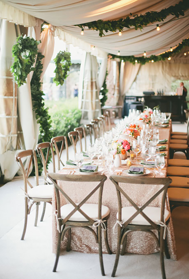 greenery garlands add a chic and natural element to a wedding tent & 15 Awesome Ideas To Make Your Wedding Tent Shine!
