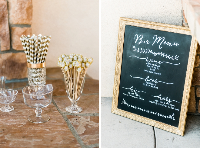 Such a cute bar menu sign and handmade drink stirs and cocktail napkins! Great idea!