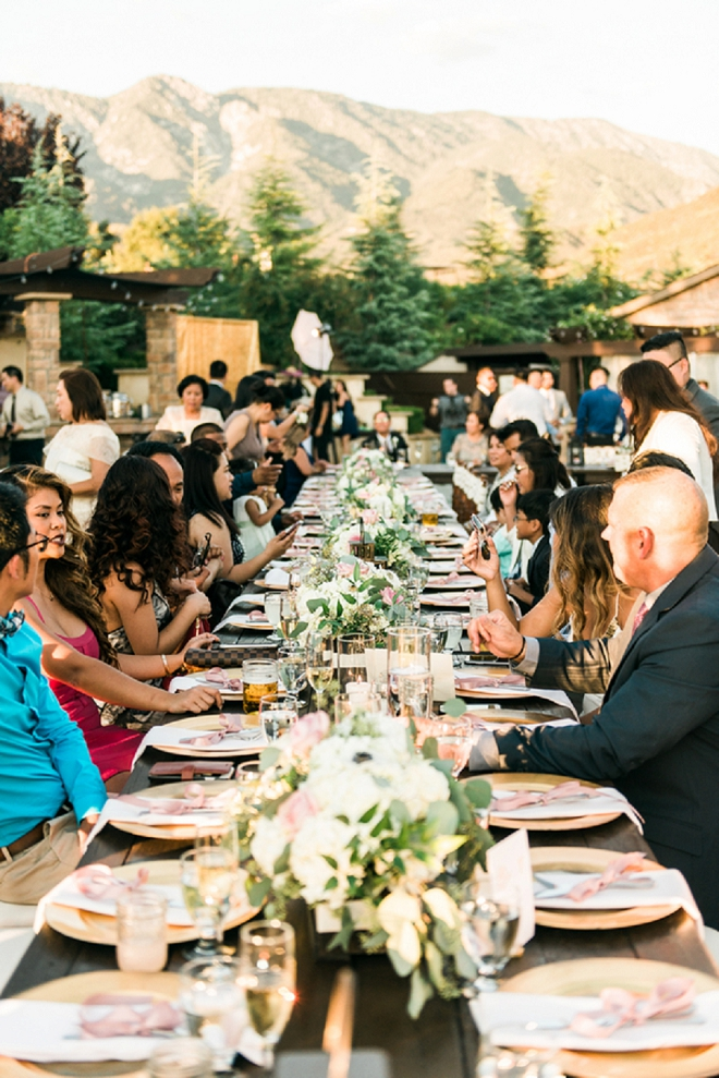 Great shot of guests enjoying this gorgeous California reception!