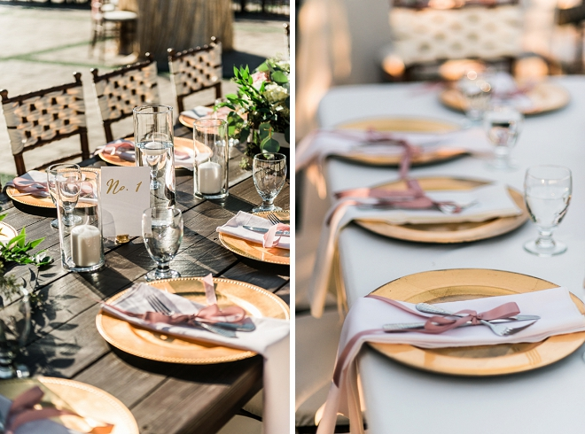 Loving all of the gold charger details at this couples reception tables!
