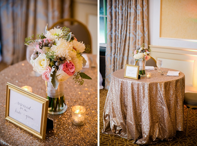Gorgeous golden glitter tablecloths at this darling sweetheart table!