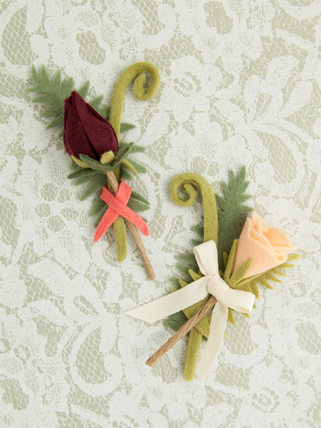 Darling DIY felt fern and felt flower boutonnieres!