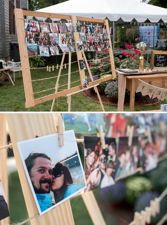 Such a fun way to display your photos at your backyard reception!