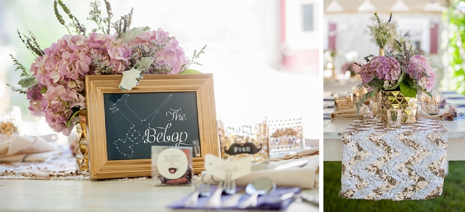 We're swooning over the gorgeous gold and lavender table decor at this Cape Cod wedding!!