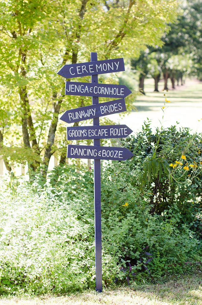 We're loving this super cute and fun wedding sign!