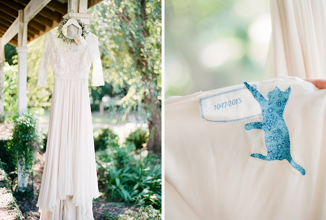 How fun is this Bride's dress and her something blue?! Love!