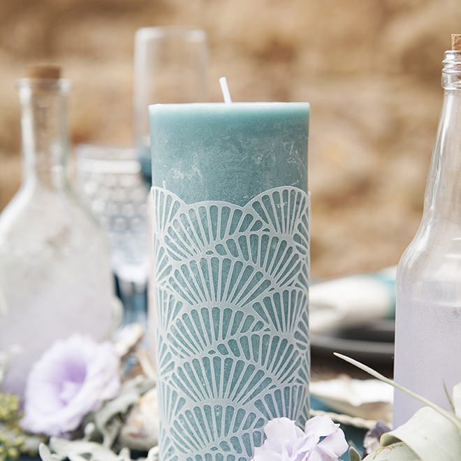 How To Embellish Cheap Candles With These DIY Scallop Wraps