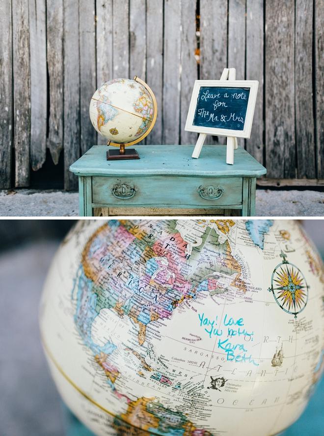 We love this couple's unique globe guest book idea!