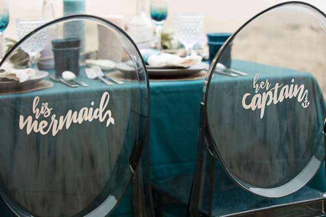 DIY His mermaid, Her captain reception chairs!