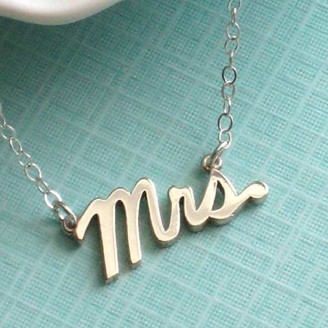 We LOVE this darling Mrs necklace! Perfect to show off your new status on the big day and after!
