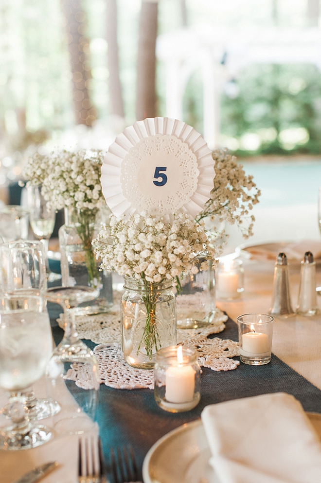 We love the darling table numbers on the dolly's at this darling wedding!