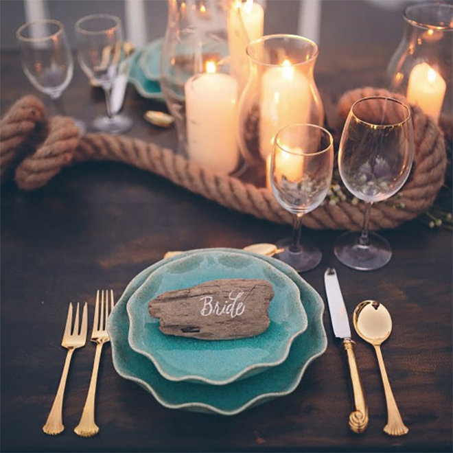 For a nautical wedding, add a rope to the table.
