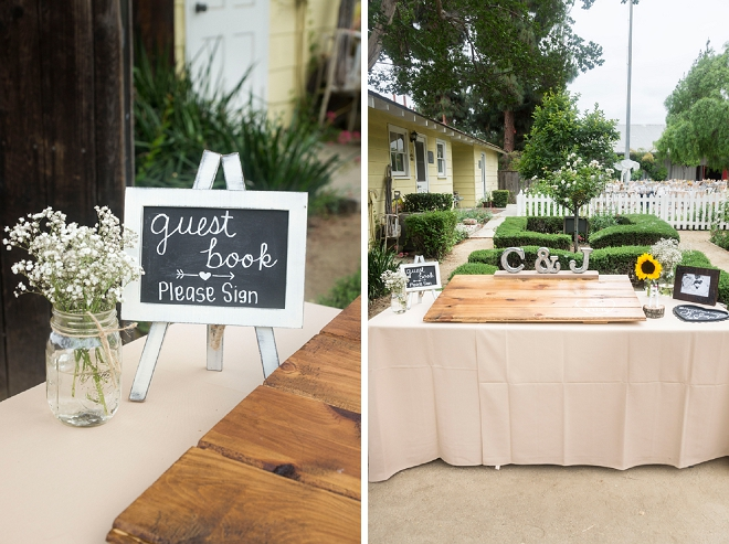 We're in LOVE with this couple's wood guest book!