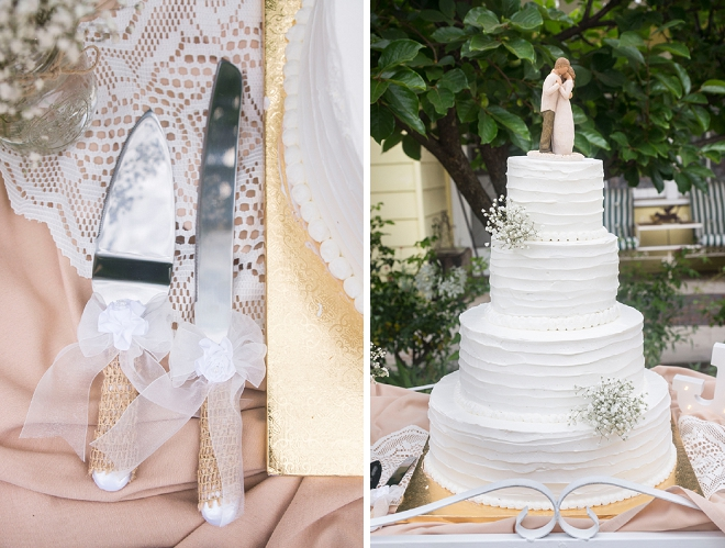We love the simplicity of this stunning wedding cake and handmade topper!