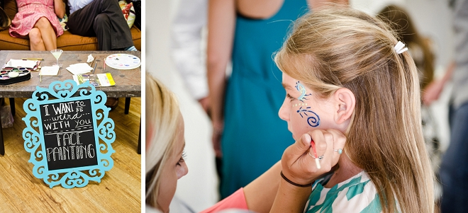This fun couple had face painting at their boho beach reception!