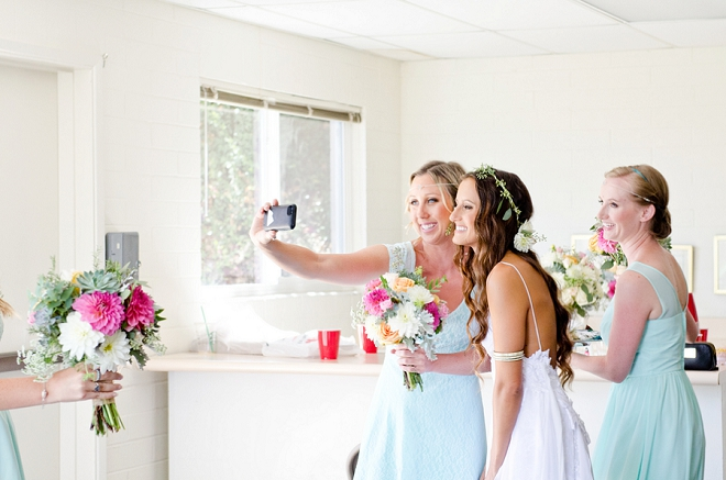 Sweet snap of the Bride and one of her Bridesmaids snapping a selfie before her first look!