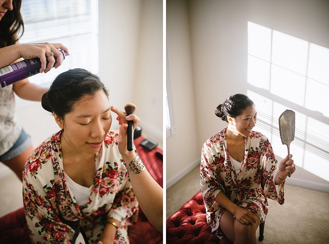 The beautiful Bride getting ready for the ceremony!