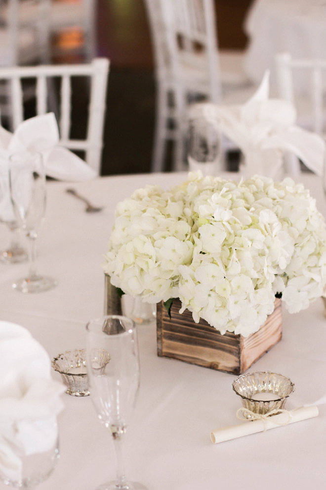 How gorgeous are these centerpiece flower boxes at their gorgeous reception?! Find out where to buy them!