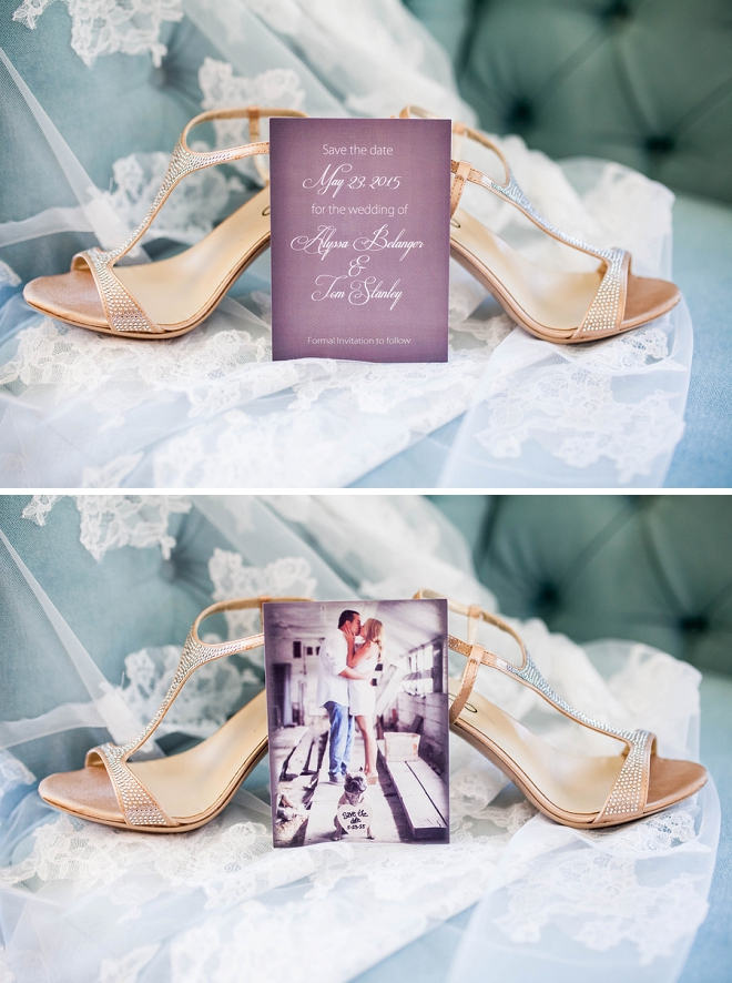 We love this snap of the couple's Save the Date's with the Bride's wedding shoes!