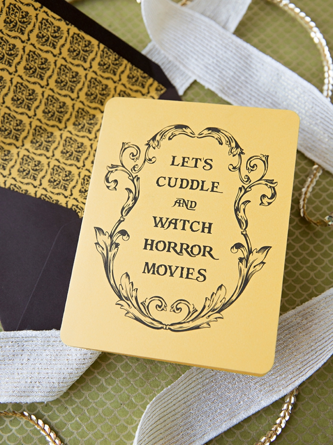 Check out this free printable Let's Cuddle and Watch Horror Movies card!