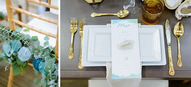 How gorgeous are these DIY sea glass place settings?! LOVE!