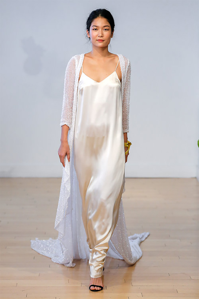 a long beaded jacket is a super chic bridal cover-up