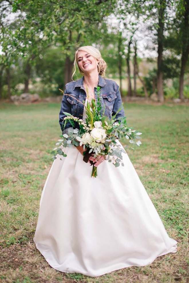 Bring a wedding gown down to earth with a denim jacket