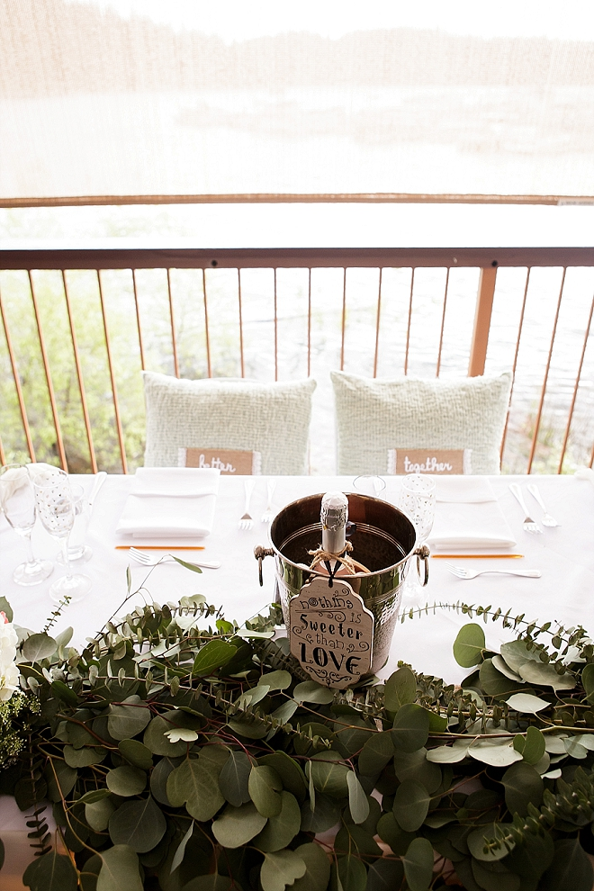We're loving this Mr. and Mrs. darling sweetheart table!