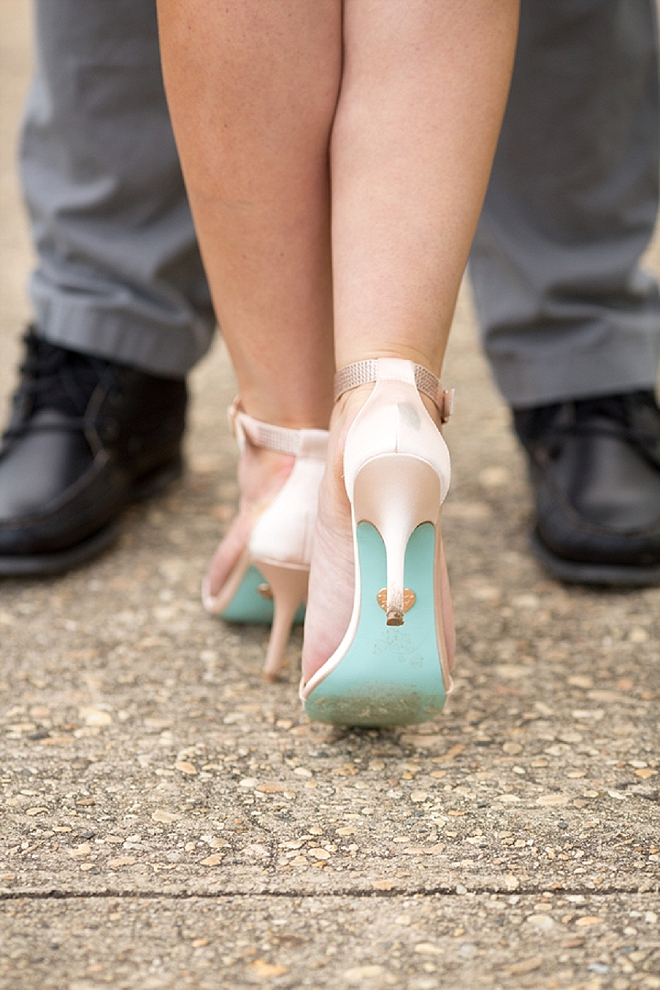 We love this Bride's blue bottom shoes for her engagement session!