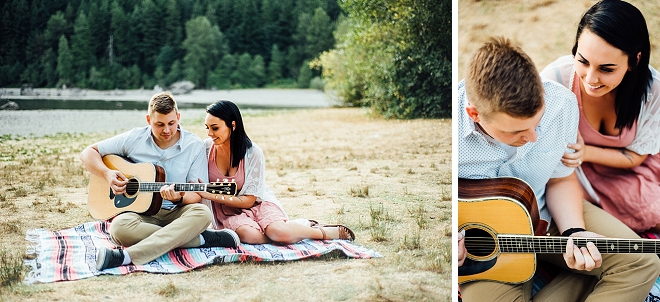 How sweet is this lakeside engagement sesh with her Fiance playing the guitar?! Swoon!
